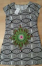 WOMEN DRESS DESIGUAL EVENING  GREY  MULTI COLOR PRINT LINED LOGO NEW SIZE L