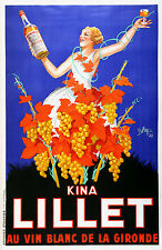 Original Vintage Liquor Poster Kina Lillet by Robys 1937 Oversize Wine French