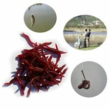 50 Pcs Soft Red Earthworm Fishing Bait Worm Lures Crankbaits Hooks Baits Tackle