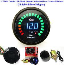 """US 2"""" 52MM Colorful LED Digital Voltmeter Voltage Oil Press Pressure PSI Gauge"""