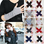 Winter Women Men's Unisex Knit Cotton Fingerless Gloves Arm Long Mitten Elbow