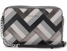 NWT Michael Kors Jet Set Travel Black Marquertry Patchwork Large Crossbody Bag