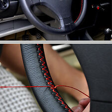 DIY Leather Car Steering Wheel Cover Default 38cm w/ Needles Thread Black+Red