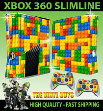 XBOX 360 SLIM STICKER TOY BRICK WALL BUILDING BLOCK GRAPHICS SKIN & 2 PAD SKINS