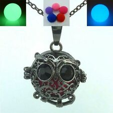 Glow in the dark Black Owl Locket Necklace Aromatherapy Essential Oil Diffuser