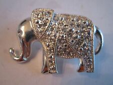 """VINTAGE ELEPHANT WITH CRYSTALS BROOCH - 1 5/8"""" LONG"""