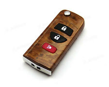Remote Flip Folding Key Peachwood Shell Case Cover For Nissan Infiniti 3 Buttons