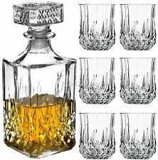 Whiskey Glass Tumblers and Square Glass Decanter Bottle Set 6 Pc Classic Men