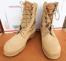 Vibram US Army Military Combat Wedge Boots Sz:10 Desert Tan Suede & Canvas New