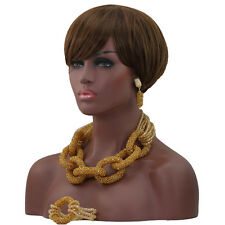 New Design Gold African Bead Bridal Wedding Jewelry Party Necklace Set