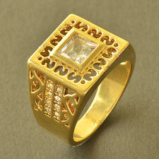 Authentic Fashion Yellow Gold Filled Crystal Crystal Mens mystic Ring,Size 10
