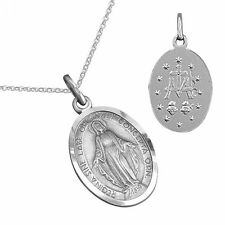 Oxidised Silver Latin Virgin Mary Miraculous Medal Pendant Necklace Jewellery