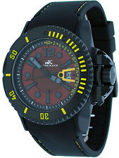 Adee Kaye AK7779-M Men's Black Aluminum Red Dial Casual Sports Watch