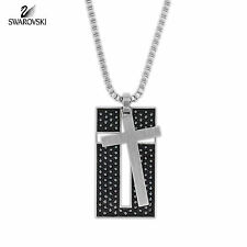 $180 Swarovski Jet Hematite Crystal Men's Jewelry VETO Pendant Cross #5015624