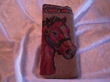 Artisan Treasures Handcrafted Horse Head Plaid #2 Tapestry Large Glass Case NEW