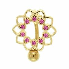 14G Unique Reverse Mount Jeweled Flower Belly Button Ring Surgical Steel