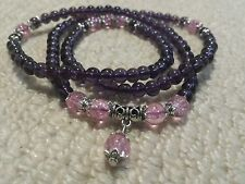 Amethyst 6mm Purple/Lilac Crackle Buddha 108 Mala Bead Bracelet/Necklace +Pouch