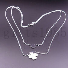 Women's stainless steel Four leaf clover jewelry fashion necklace pendant charm