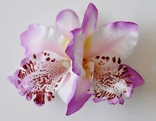 "3.5"" Lavender & White Double Cymbidium Orchid Flower Hair Clip Luau Wedding"