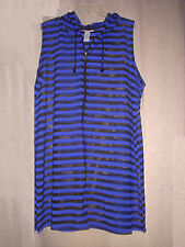 1X 18/20 Catherines Cover Up Beach Pool Black Blue Stripes Zips,Hood,Slvless $69