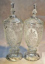 Matching Pair of Mid-Victorian Pressed Flint Glass Celery with Original Covers