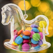 x100 Clear Rocking Horse Shaped Xmas Decorations Empty Fillable Bauble Container