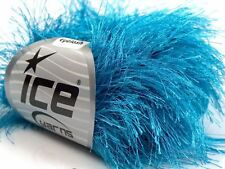 38Yd Turquoise Extra Long Eyelash Yarn  #13270 Ice Luxurious Blue Fun Fur 50gr