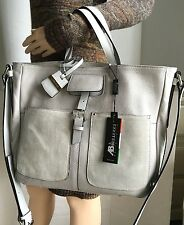AB A. BELLUCCI Pebbled & Suede Leather Handbag/Silver Gray/Italy/NWT