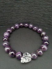 Genuine Amethyst Gemstone Austrian Clear Crystal Skull Bracelet Baby Chrome King