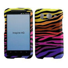 For HTC Inspire 4G Rubberized Hard Case Snap on Phone Cover Color Zebra