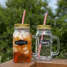 Large Mason Jar Mugs Drinking Glasses With Handle 24 Oz. Pack Of 2 Party Outdoor