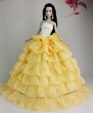 Amarillo Moda Princesa Vestido clothes/gown Para Barbie Muñeca u124y