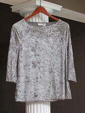 CHICO'S Pewter Velvet Scroll Stamped 3/4 Sleeve Top Shirt Size 1 (8-10) NEW