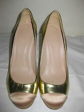 J.Crew  Cap Toe Patent Leather Pumps Shoes Size 5, Made In ITALY!!!!!!!