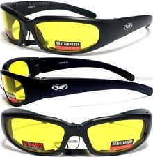 Global Vision Chicago Yellow Night Driving HD Foam Padded Sunglasses Motorcycle