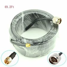 49ft N Male Plug to SMA Male Antenna Extension Cable RG58 Coax Jumper WIFI 15m