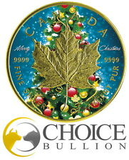 2016 Christmas Maple .9999 Silver Coin $5 - 1oz .999 Silver + 24K Gold