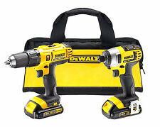 New Cordless Twin Pack DEWALT 18 Volt LI-ION Lithium Hammer Drill Driver Kit