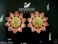 SIGNED SWAROVSKI ROSE CRYSTAL SUNFLOWER CLIP EARRINGS  RETIRED RARE NEW