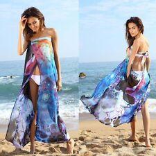 Vestido De Las Mujeres Gasa Floral Traje Baño Verano Playa Bikini Pareo Largo