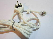 White Bosch Steam Iron Braided Heat Resistant 3 Core Cable Lead Flex UK Plug
