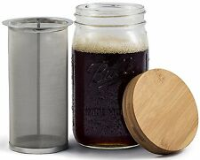 Mason Jar Cold Brew Coffee & Iced Tea Maker Bamboo Lid & Stainless Steel Filter