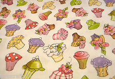 Loralie Cupcake 100% COTTON FABRIC - by the YARD - FREE SHIP USA - cup cake