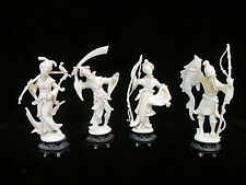 4 Asian Japanese Statues Made in Italy Fish Sword Collectible Plastic Figurines