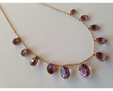 Antique Victorian 10K Gold Graduated Amethyst Necklace