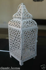 VINTAGE IVORY CREAM MOROCCAN LANTERN METAL ELECTRICAL TABLE LAMP BED SIDE  NEW