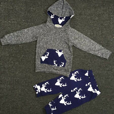 @Newborn Girls Tops Hooded Jumpsuit+Pants+ Baby Boys Hat Outfits Clothes 100