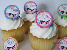 Roller Skating rings cupcake toppers - 12ct - skate party birthday favor 80's