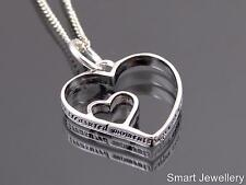925 STERLING SILVER ENGRAVED DOUBLE HEART PENDANT NECKLACE TREASURED MOMENTS