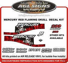 MERCURY 200 RED FLAME SKULL OUTBOARD DECALS 150 175 250 efi saltwater optimax